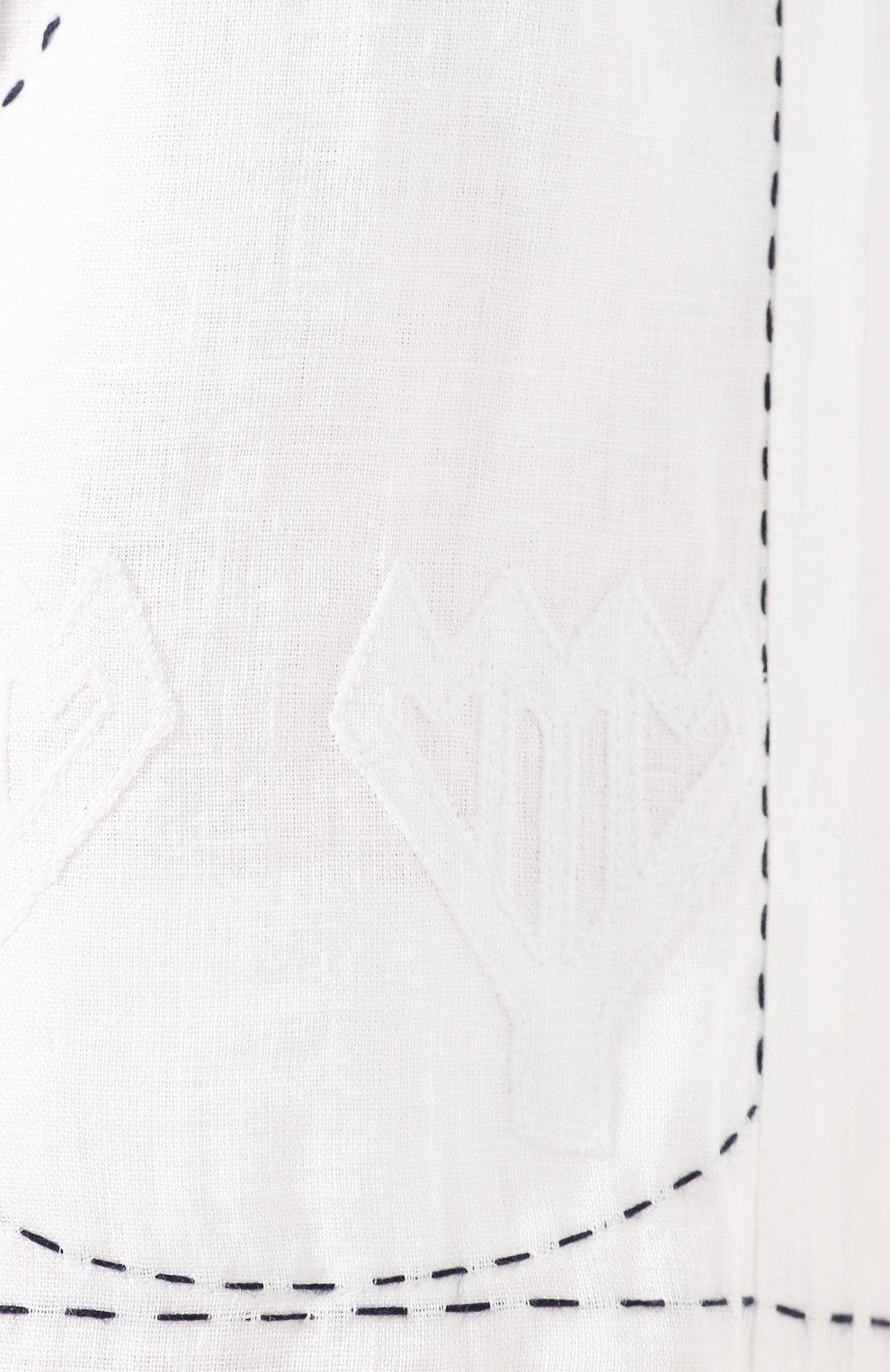 Женские льняные шорты VITA KIN белого цвета, арт. SHR-0053/NPL-2 | Фото 5 (Женское Кросс-КТ: Шорты-одежда; Длина Ж (юбки, платья, шорты): Мини; Материал внешний: Лен; Статус проверки: Проверена категория)