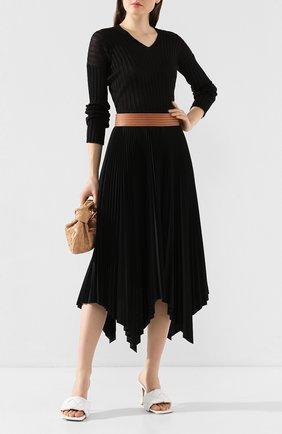 Женская шелковый пуловер BOTTEGA VENETA черного цвета, арт. 612079/VKJM0 | Фото 2