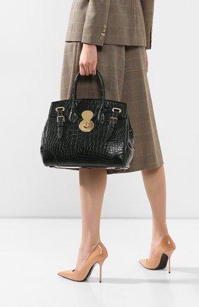 Женская сумка ricky 33 из кожи аллигатора RALPH LAUREN зеленого цвета, арт. 435129610/AMIS | Фото 2
