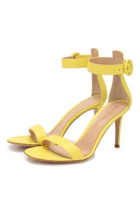 Женские кожаные босоножки portofino 85 GIANVITO ROSSI желтого цвета, арт. G60953.85RIC.NAPYELL   Фото 1 (Материал внутренний: Натуральная кожа; Подошва: Плоская; Каблук высота: Высокий; Каблук тип: Шпилька)