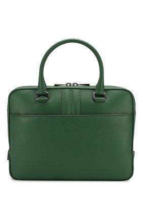 Мужская кожаная сумка для ноутбука TOD'S зеленого цвета, арт. XBMMDKLS300SUN | Фото 1