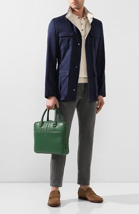 Мужская кожаная сумка для ноутбука TOD'S зеленого цвета, арт. XBMMDKLS300SUN | Фото 2