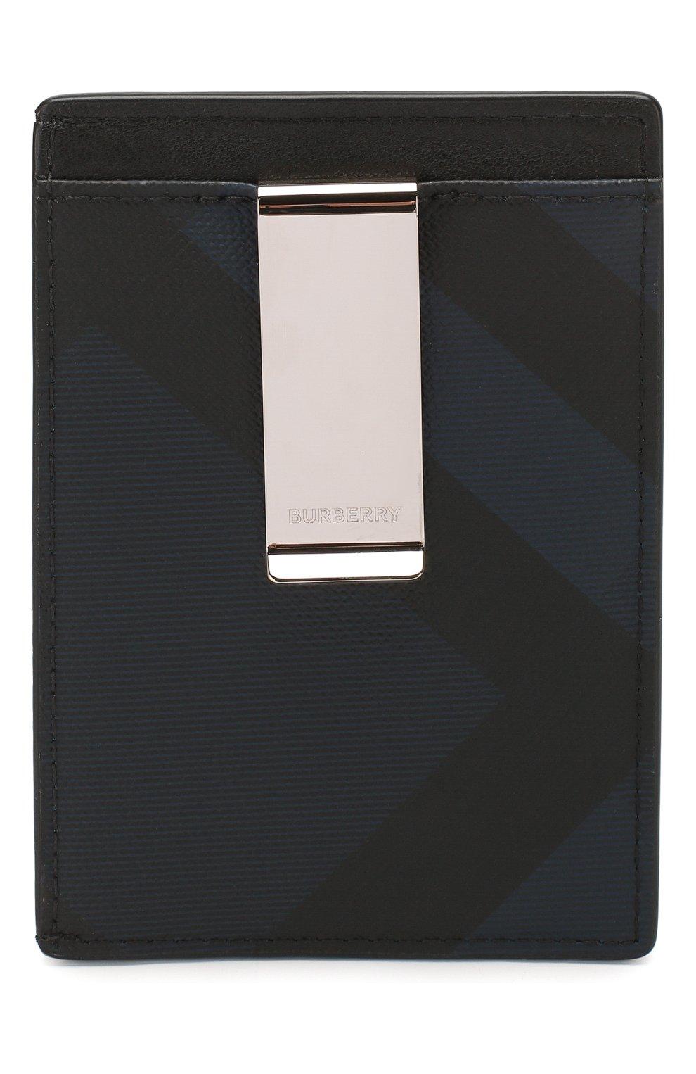 Мужской футляр для кредитных карт BURBERRY синего цвета, арт. 8024773   Фото 2 (Материал: Текстиль, Экокожа)