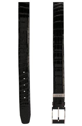 Мужской ремень из кожи крокодила ZILLI черного цвета, арт. MJL-CLAQE-01011/0068/CP0R | Фото 2
