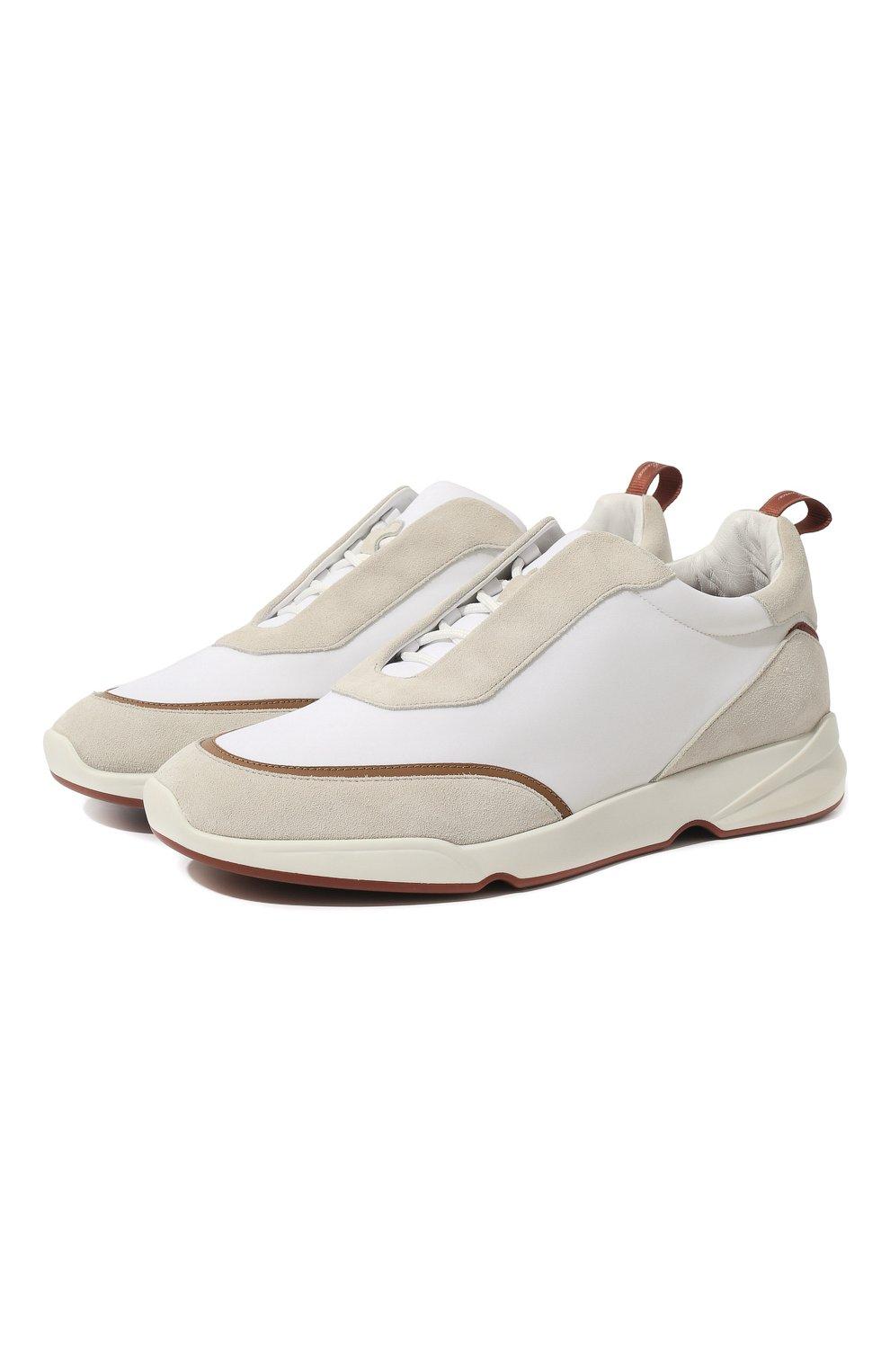 Мужские текстильные кроссовки LORO PIANA белого цвета, арт. FAL0332 | Фото 1