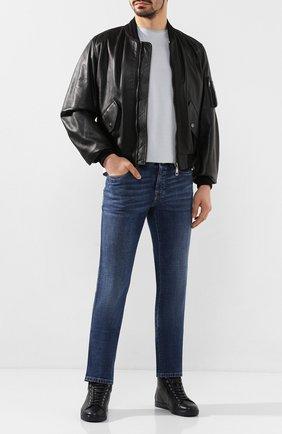 Мужские кожаные кеды GIANVITO ROSSI темно-синего цвета, арт. S28240.M1DEN.B0XDENI | Фото 2