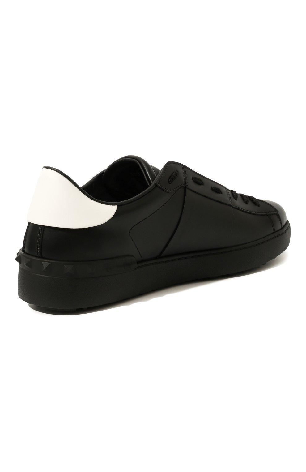 Мужские кожаные кеды valentino garavani open vltn VALENTINO черного цвета, арт. TY2S0830/XZU | Фото 5