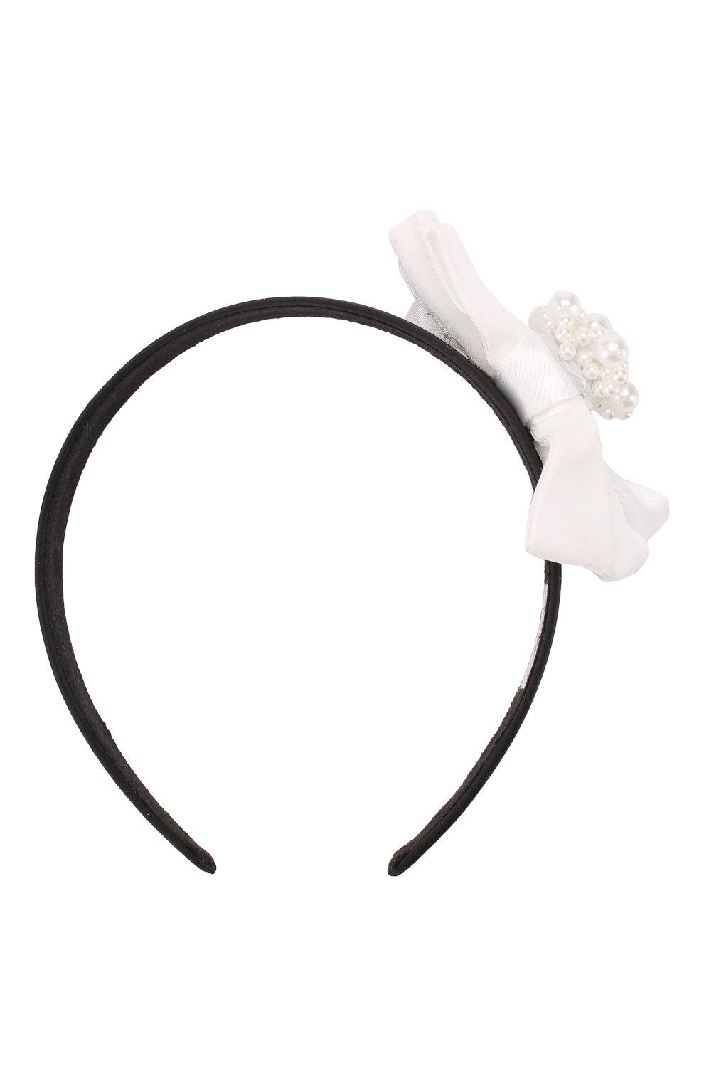 Детского ободок velours bow JUNEFEE белого цвета, арт. 6160 | Фото 1