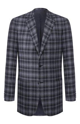 Мужской пиджак из смеси шерсти и шелка BRIONI синего цвета, арт. RGH00L/08A7L/PARLAMENT0 | Фото 1