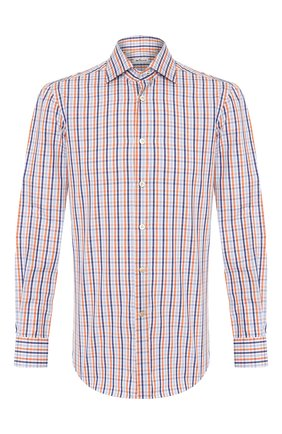 Мужская хлопковая сорочка KITON оранжевого цвета, арт. UCIH0730366 | Фото 1
