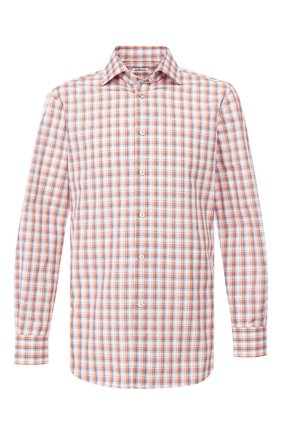 Мужская хлопковая сорочка KITON оранжевого цвета, арт. UCIH0730421 | Фото 1