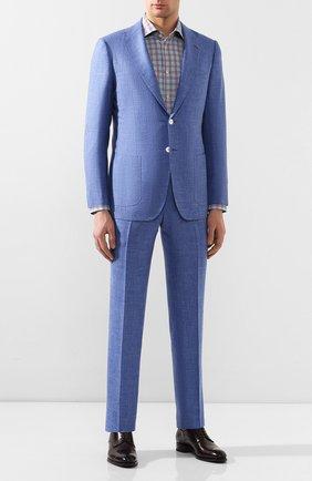 Мужская хлопковая сорочка KITON синего цвета, арт. UCIH0730445 | Фото 2