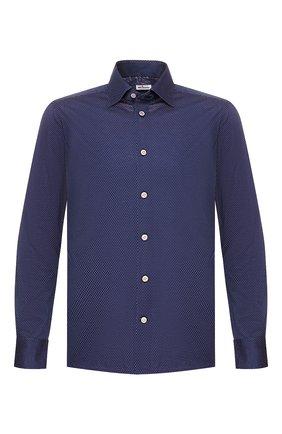 Мужская хлопковая рубашка KITON синего цвета, арт. UMCNERH0721608 | Фото 1