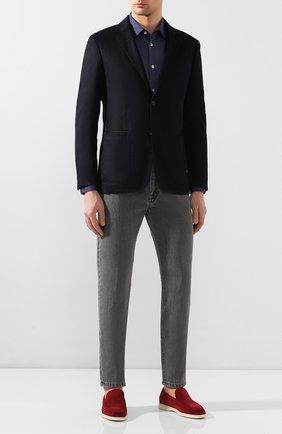 Мужская хлопковая рубашка KITON синего цвета, арт. UMCNERH0721608 | Фото 2