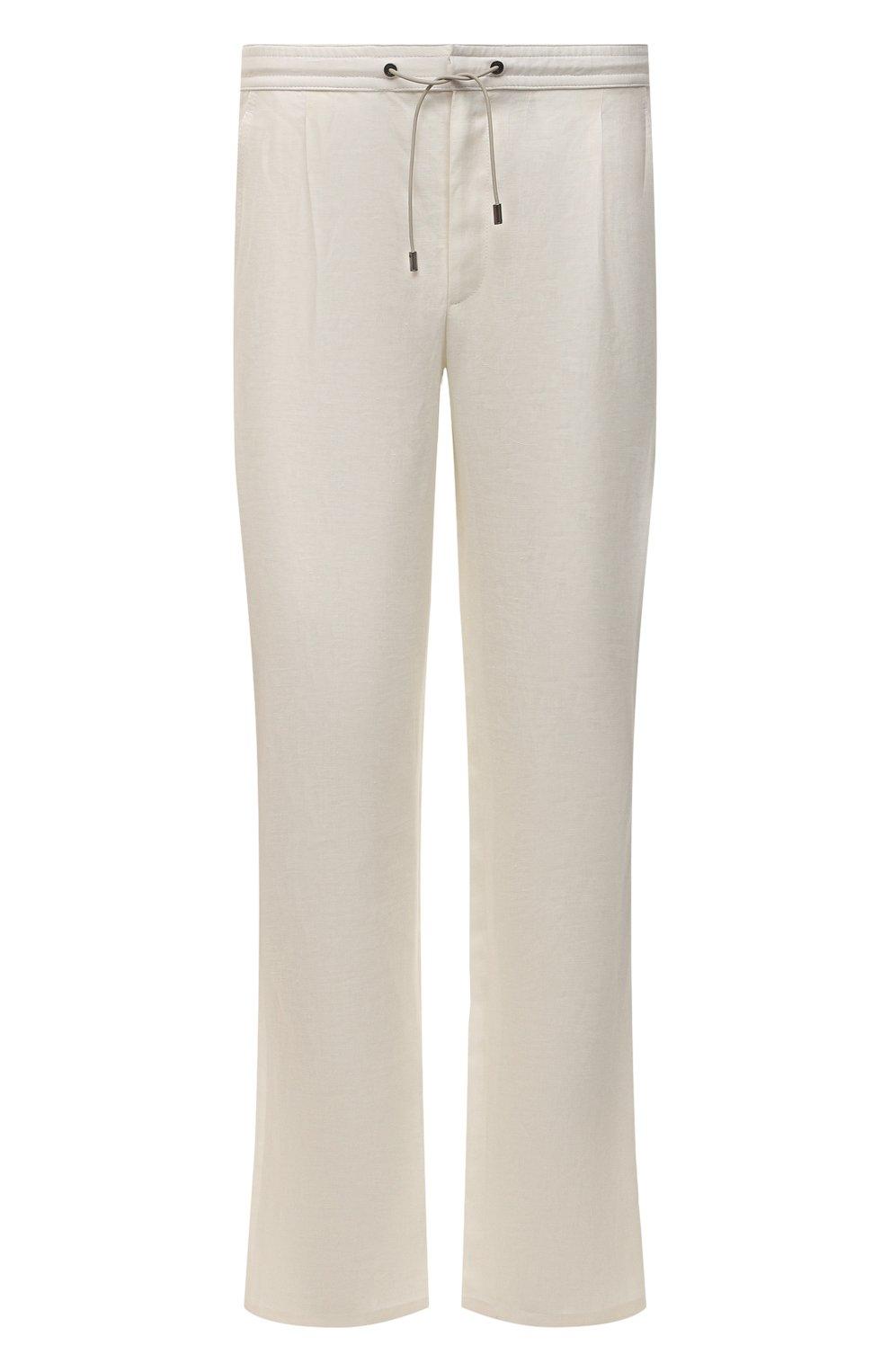 Мужские льняные брюки BRIONI белого цвета, арт. RPMJ0M/P6114/NEW JAMAICA   Фото 1 (Длина (брюки, джинсы): Стандартные; Случай: Повседневный; Материал внешний: Лен; Стили: Кэжуэл)