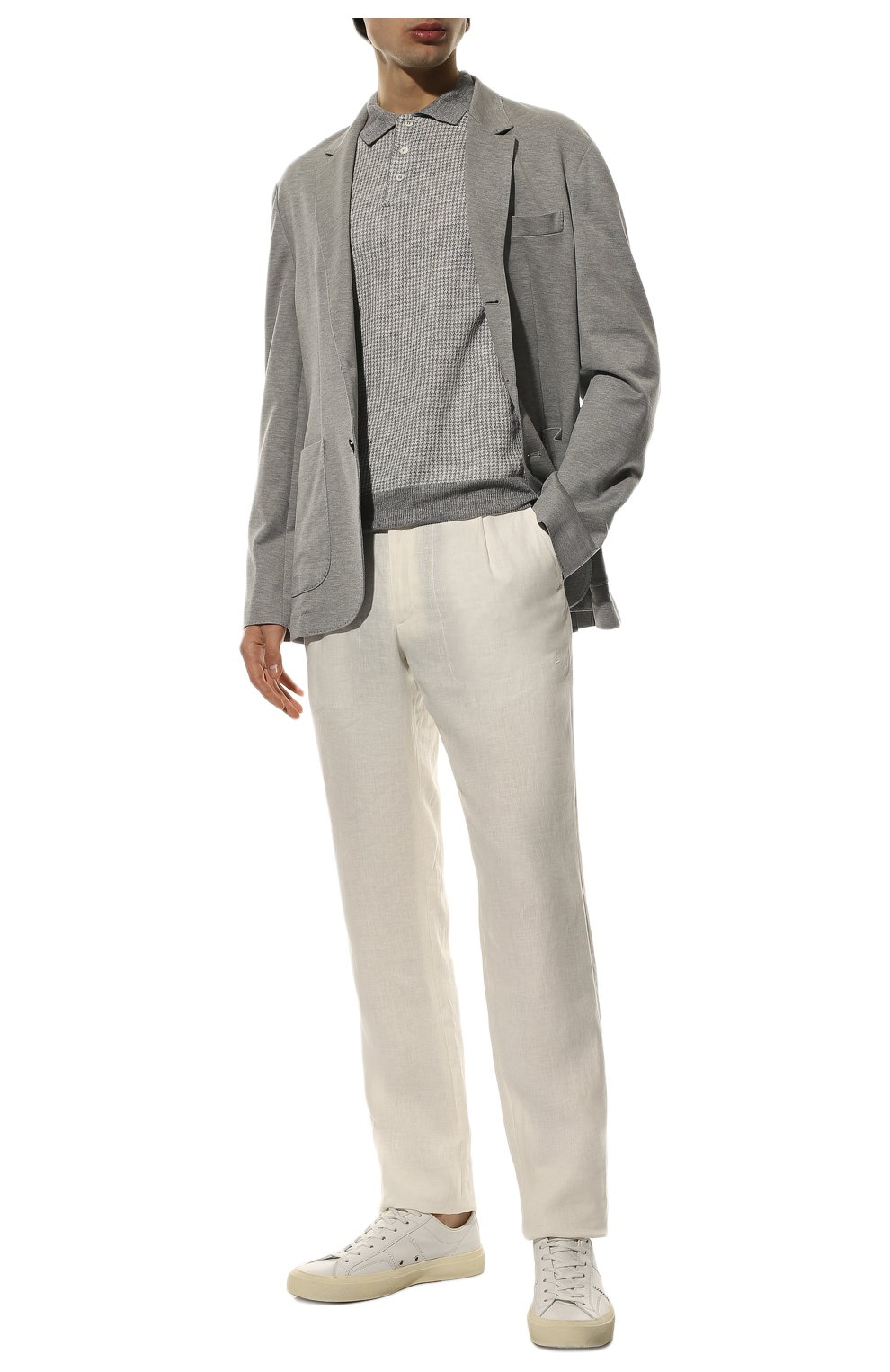 Мужские льняные брюки BRIONI белого цвета, арт. RPMJ0M/P6114/NEW JAMAICA   Фото 2 (Длина (брюки, джинсы): Стандартные; Случай: Повседневный; Материал внешний: Лен; Стили: Кэжуэл)