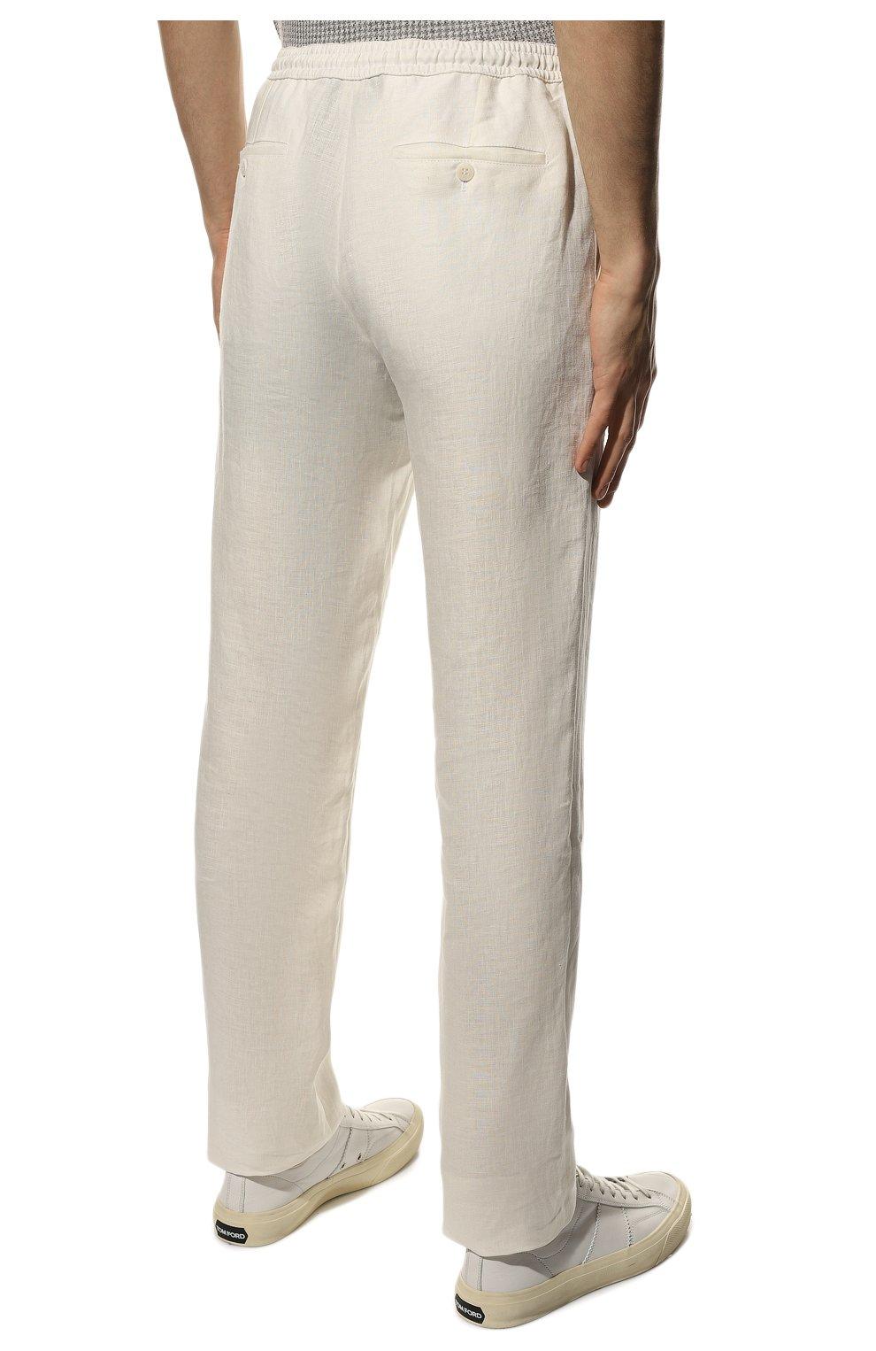 Мужские льняные брюки BRIONI белого цвета, арт. RPMJ0M/P6114/NEW JAMAICA   Фото 4 (Длина (брюки, джинсы): Стандартные; Случай: Повседневный; Материал внешний: Лен; Стили: Кэжуэл)