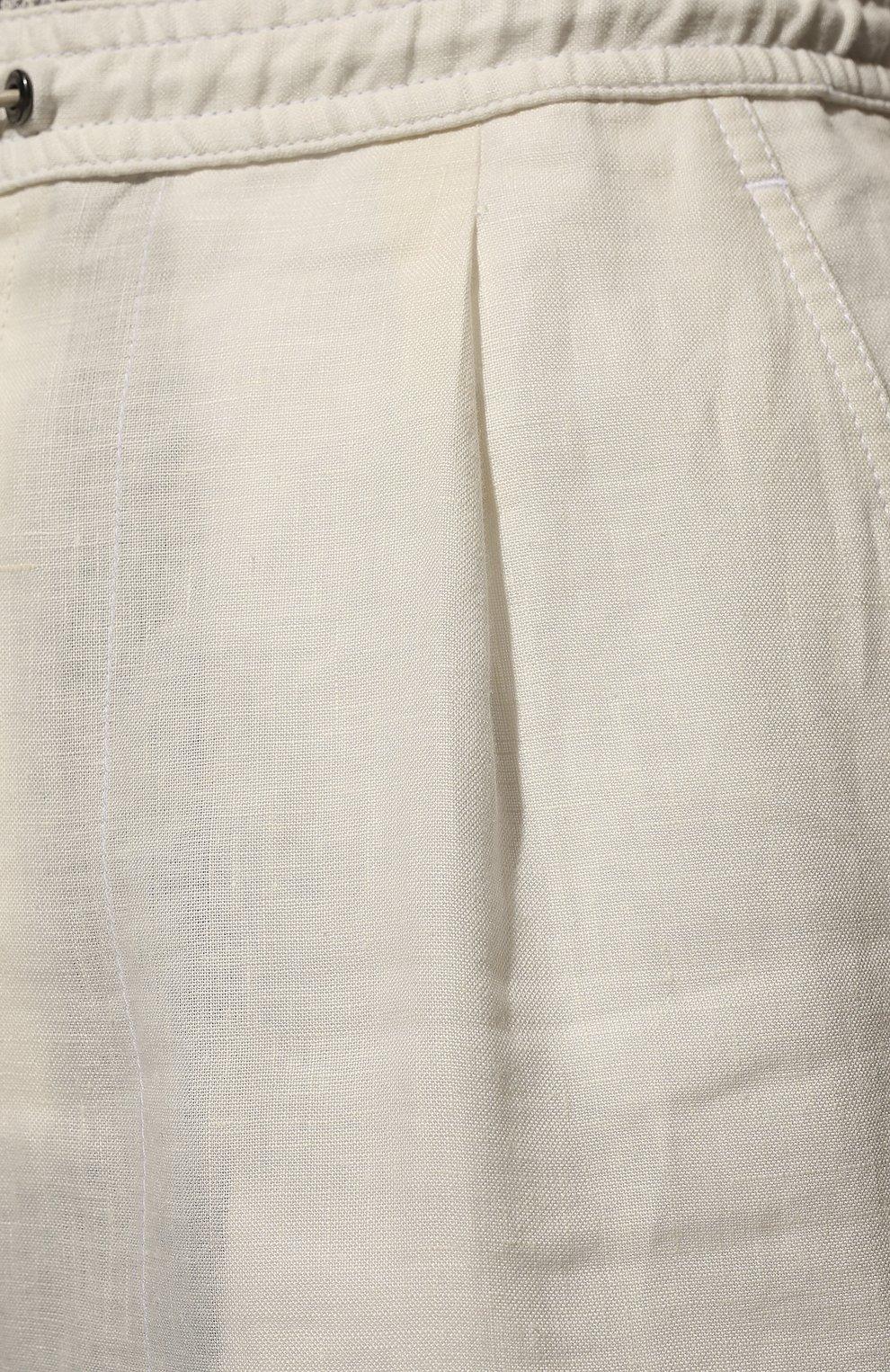 Мужские льняные брюки BRIONI белого цвета, арт. RPMJ0M/P6114/NEW JAMAICA   Фото 5 (Длина (брюки, джинсы): Стандартные; Случай: Повседневный; Материал внешний: Лен; Стили: Кэжуэл)