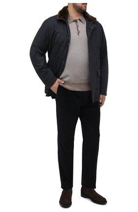 Мужское поло из смеси шерсти и шелка BRIONI бежевого цвета, арт. UMR30L/P9K30 | Фото 2 (Рукава: Длинные; Материал внешний: Шерсть, Шелк; Длина (для топов): Стандартные; Стили: Кэжуэл; Кросс-КТ: Трикотаж; Застежка: Пуговицы)