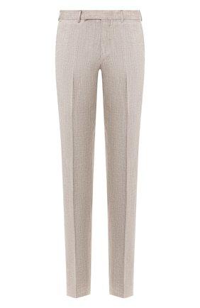 Мужской брюки из смеси льна и шерсти ERMENEGILDO ZEGNA бежевого цвета, арт. 770F05/75TB12 | Фото 1