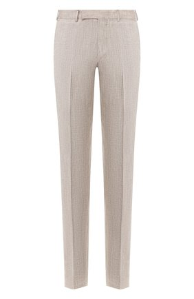 Мужские брюки из смеси льна и шерсти ERMENEGILDO ZEGNA бежевого цвета, арт. 770F05/75TB12 | Фото 1