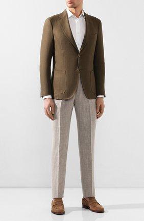 Мужские брюки из смеси льна и шерсти ERMENEGILDO ZEGNA бежевого цвета, арт. 770F05/75TB12 | Фото 2