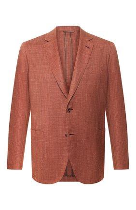 Мужской пиджак из смеси шерсти и шелка BRIONI коричневого цвета, арт. RGL500/P9A53/PLUME | Фото 1