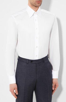 Мужская хлопковая сорочка ZILLI белого цвета, арт. MFT-MERCU-30803/RZ01 | Фото 3