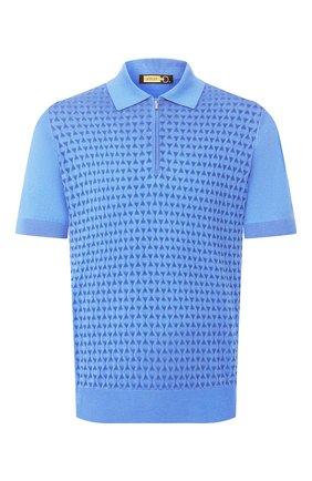 Мужское поло из смеси шелка и хлопка ZILLI синего цвета, арт. MBT-PZ102-DIAM1/MC02 | Фото 1