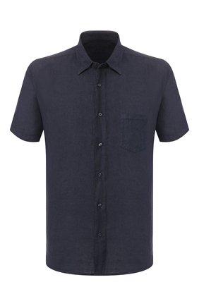 Мужская льняная рубашка 120% LINO темно-синего цвета, арт. R0M1368/0115/000 | Фото 1