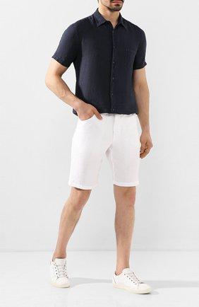 Мужская льняная рубашка 120% LINO темно-синего цвета, арт. R0M1368/0115/000 | Фото 2