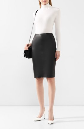 Женская кожаная юбка YVES SALOMON черного цвета, арт. 20WYJ22462APSX | Фото 2