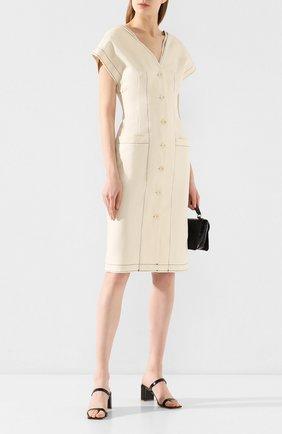 Женское платье из смеси хлопка и льна PROENZA SCHOULER WHITE LABEL кремвого цвета, арт. WL2013054-AL001 | Фото 2