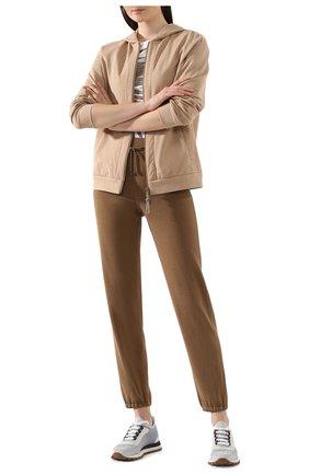 Женские джоггеры из смеси шелка и хлопка LORO PIANA хаки цвета, арт. FAF2340 | Фото 2