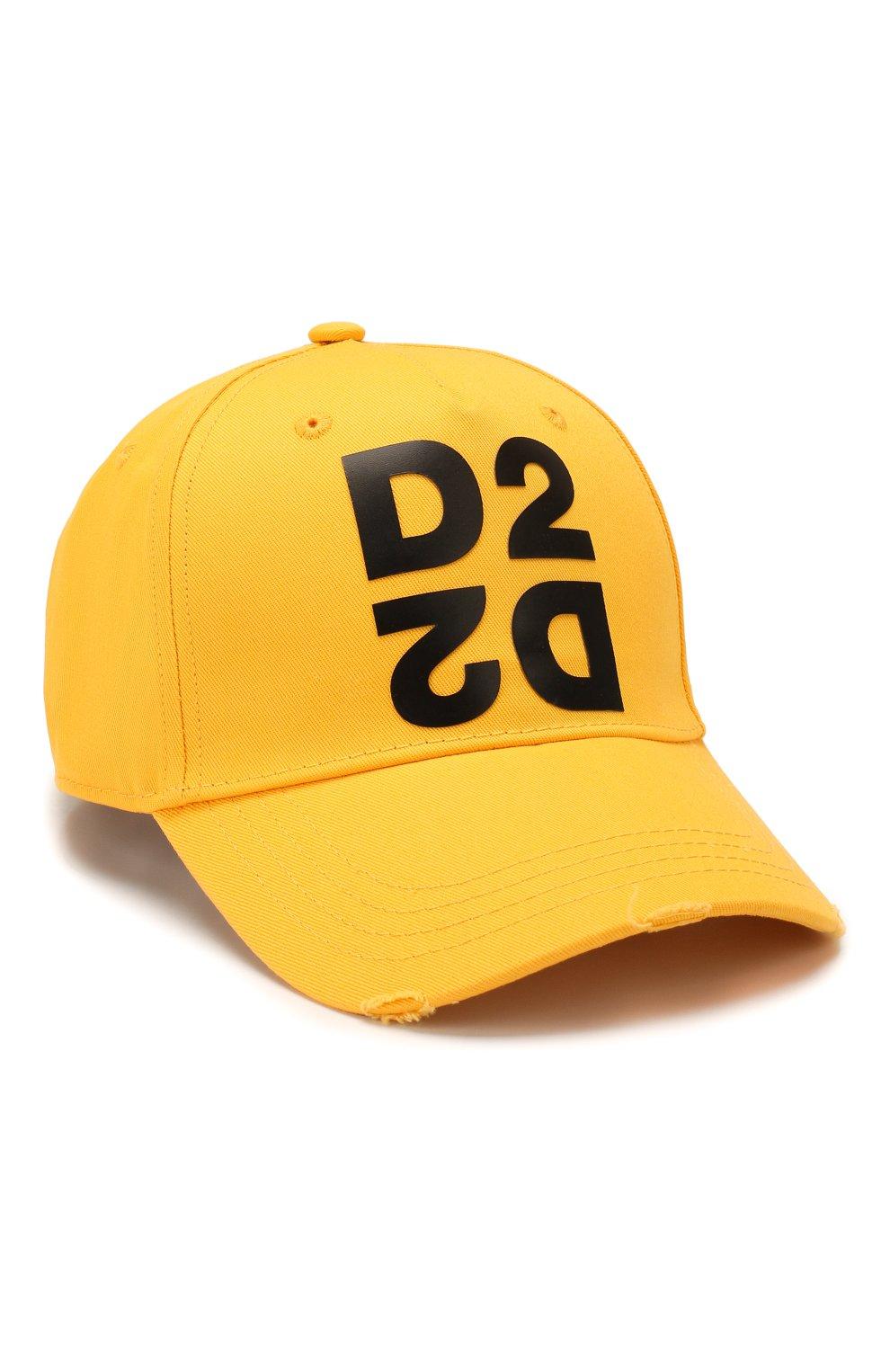 Мужской хлопковая бейсболка DSQUARED2 желтого цвета, арт. BCM0265 05C00001 | Фото 1