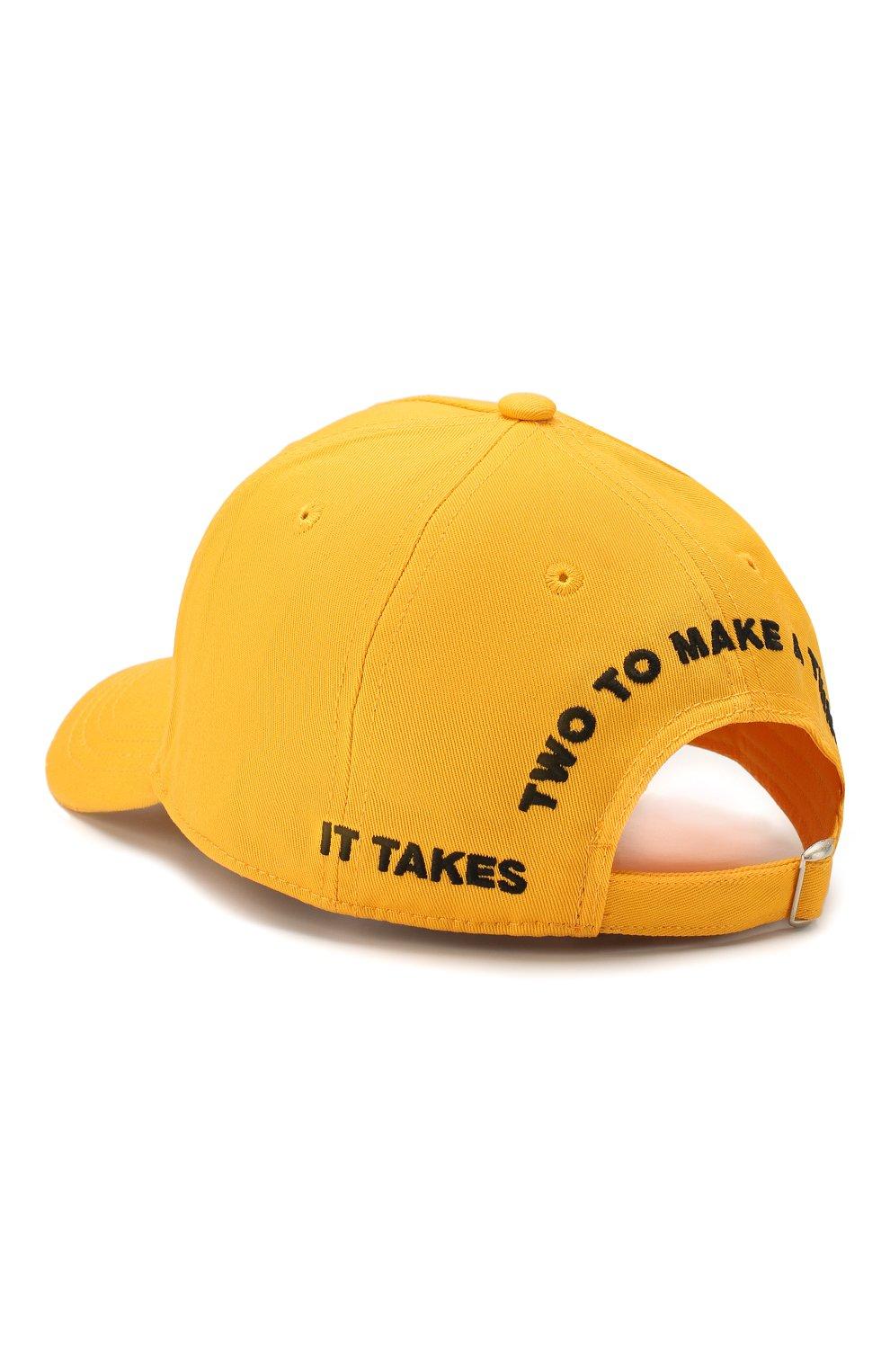 Мужской хлопковая бейсболка DSQUARED2 желтого цвета, арт. BCM0265 05C00001 | Фото 2