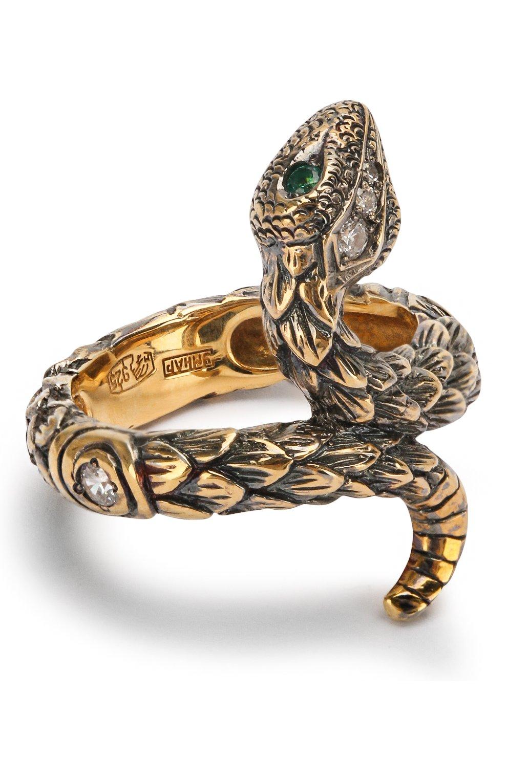 Женское кольцо one round snake QUEENSBEE золотого цвета, арт. 102008/6,10 | Фото 1