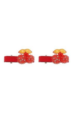 Детская комплект из 2-х заколок shiny cherry JUNEFEE красного цвета, арт. 5192 | Фото 1