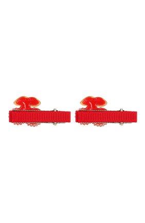 Детская комплект из 2-х заколок shiny cherry JUNEFEE красного цвета, арт. 5192 | Фото 2