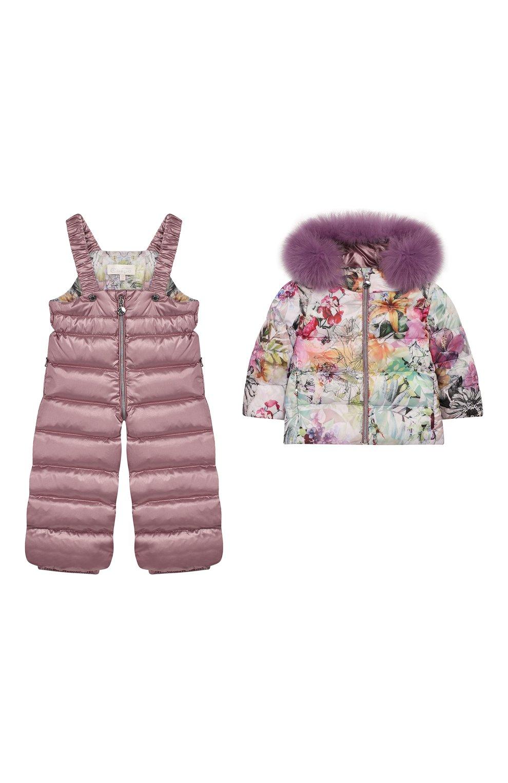 Детского комплект из пуховой куртки и комбинезона сиреневый сад CHEPE разноцветного цвета, арт. 392222 | Фото 1