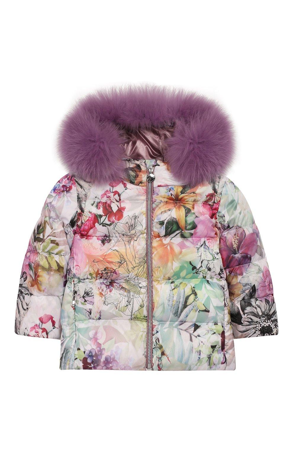 Детского комплект из пуховой куртки и комбинезона сиреневый сад CHEPE разноцветного цвета, арт. 392222 | Фото 4