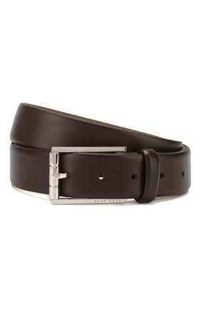 Мужской кожаный ремень BOSS темно-коричневого цвета, арт. 50429994 | Фото 1