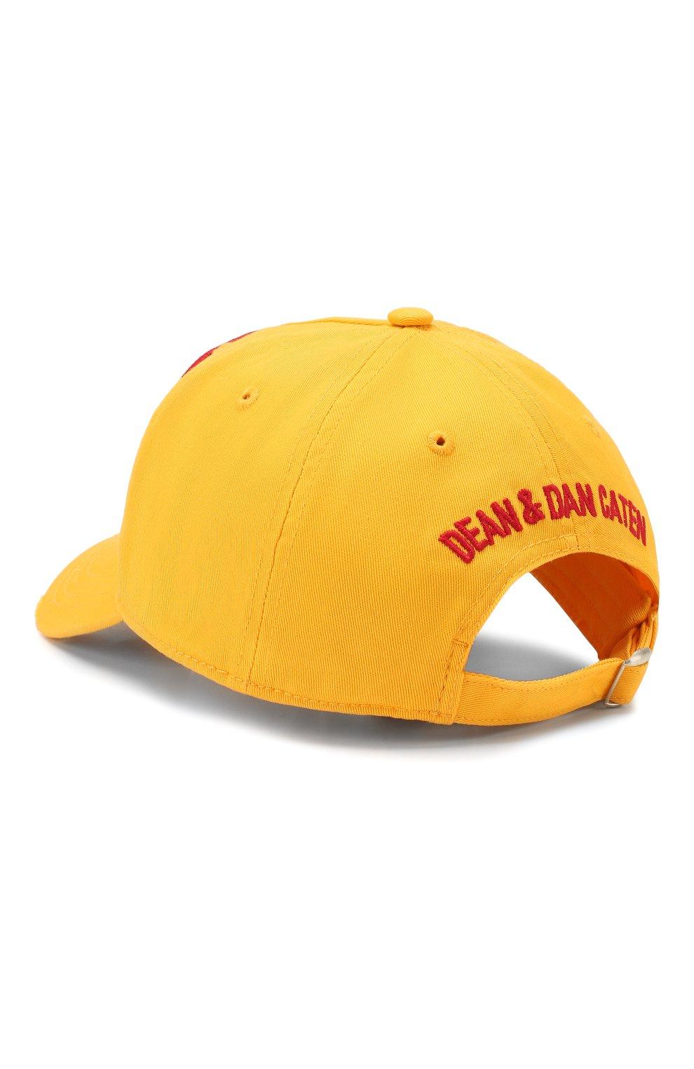 Мужской хлопковая бейсболка DSQUARED2 желтого цвета, арт. BCM0276 05C00001 | Фото 2