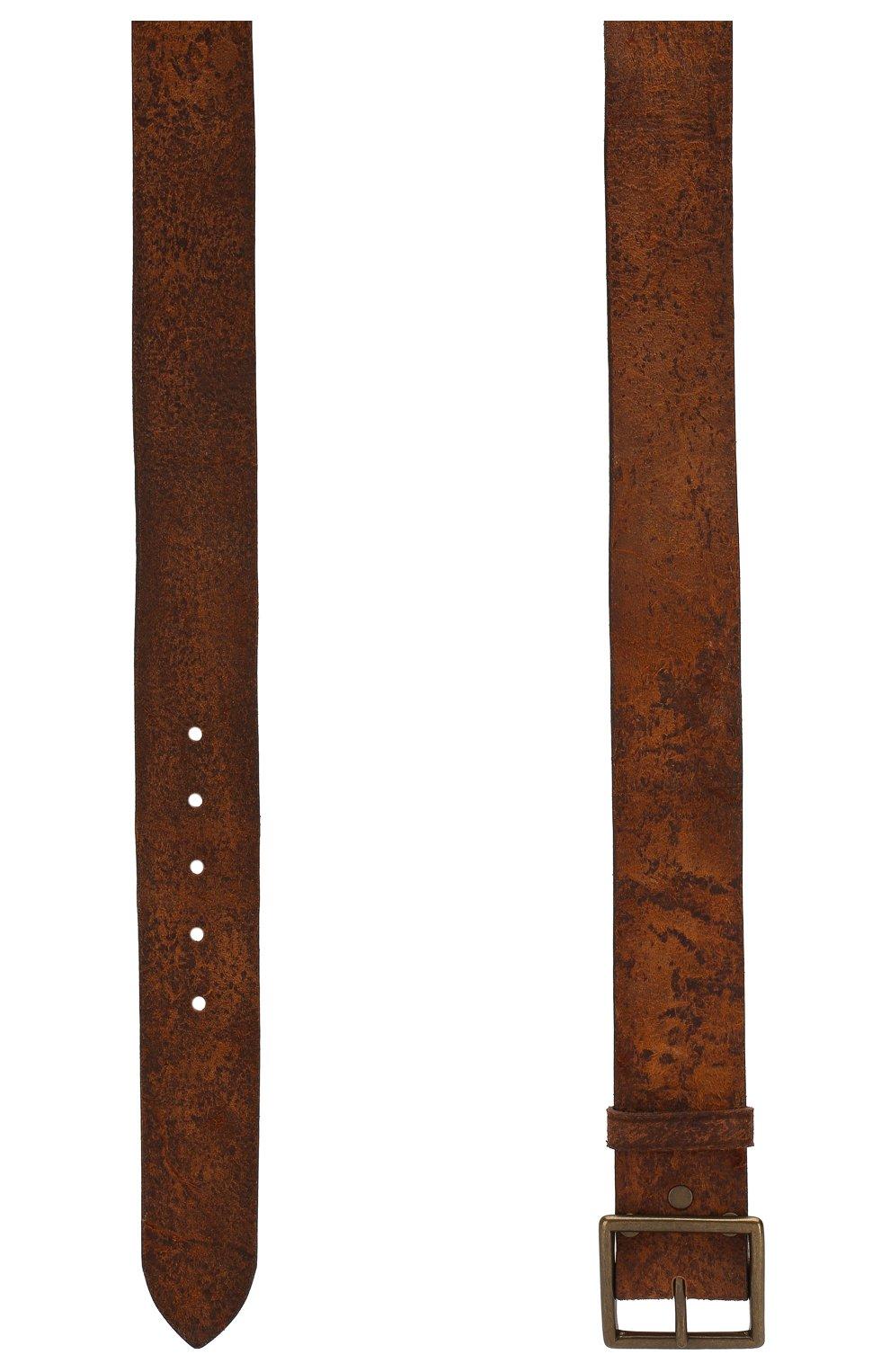 Мужской кожаный ремень RRL светло-коричневого цвета, арт. 417659376   Фото 2 (Случай: Повседневный)