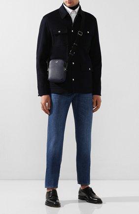 Мужская кожаная сумка DUNHILL темно-синего цвета, арт. DU20R3550CA | Фото 2