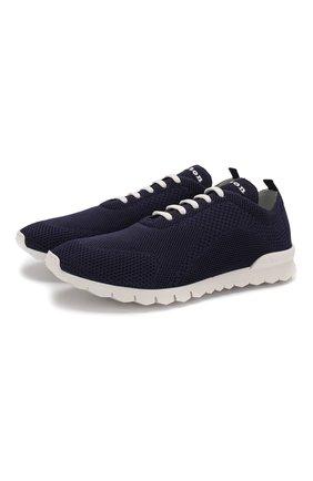Мужские текстильные кроссовки KITON темно-синего цвета, арт. USSFITSN00609 | Фото 1 (Подошва: Массивная; Материал внутренний: Натуральная кожа; Материал внешний: Текстиль)