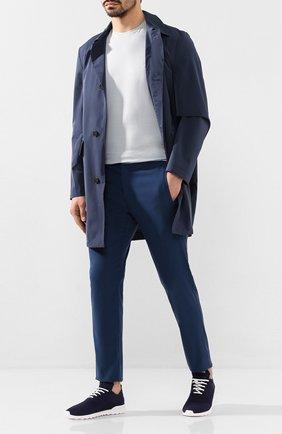 Мужские текстильные кроссовки KITON темно-синего цвета, арт. USSFITSN00609 | Фото 2 (Подошва: Массивная; Материал внутренний: Натуральная кожа; Материал внешний: Текстиль)