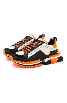Мужские кожаные кроссовки super king DOLCE & GABBANA оранжевого цвета, арт. CS1649/AX024 | Фото 1