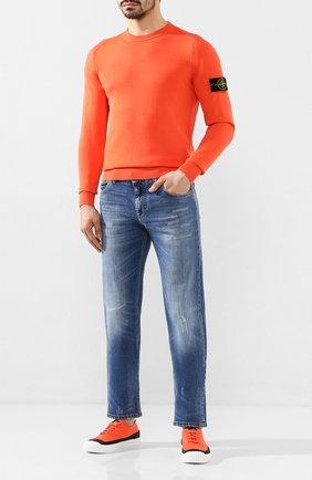 Мужские текстильные кеды STONE ISLAND оранжевого цвета, арт. 7215S0164   Фото 2