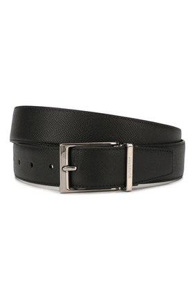Мужской двусторонний кожаный ремень BURBERRY черного цвета, арт. 8024166 | Фото 1